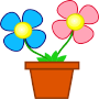 A képen egy grafikusan ábrázolt virág látható.